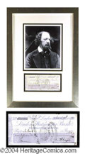 Autographs, Lord Alfred Tennyson Signed Bank Check