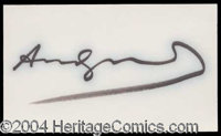 Andy Warhol Bold Ink Signature - Sensational, bold felt tip signature on a clean and unlined 3 x 5 white index card. Lig...