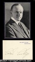 Autographs, Calvin Coolidge Signed White House Card