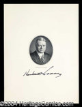 Autographs, Herbert Hoover Signed Engraving