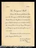 Autographs, John F. Kennedy 1961 Inauguration Ball Invite