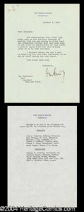 Autographs, John F. Kennedy Rare TLS Signed as President