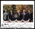 Autographs, The Five Presidents Signed Photo Reagan Ford
