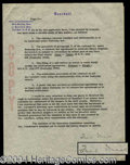 Autographs, Ford Frick Signed Document