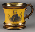 Political:3D & Other Display (pre-1896), William Henry Harrison: Rare Copper Lustre Campaign Mug ...