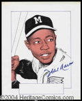 Autographs, Hank Aaron Signed Ellison Artwork