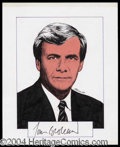 Autographs, Tom Brokaw Signed Original Artwork