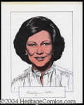 Autographs, Rosalynn Carter Signed Original Artwork
