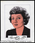 Autographs, Claudette Colbert Signed Original Artwork