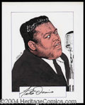Autographs, Fats Domino Signed Original Artwork