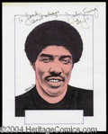 Autographs, Julius Erving Signed Original Artwork