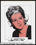 Autographs, Joan Fontaine Signed Original Artwork