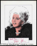 Autographs, Zsa Zsa Gabor Signed Original Artwork