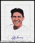 Autographs, Lefty Gomez Signed Original Artwork