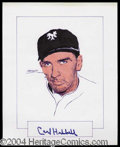 Autographs, Carl Hubbell Signed Original Artwork