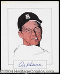 Autographs, Al Kaline Signed Original Artwork