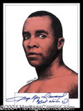 Autographs, Sugar Ray Leonard Signed Artwork