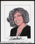 Autographs, Bette Midler Signed Original Artwork