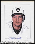 Autographs, Paul Molitor Signed Original Artwork