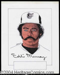 Autographs, Eddie Murray Signed Original Artwork