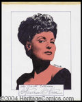 Autographs, Maureen O' Hara Signed Original Artwork
