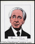 Autographs, Shimon Peres Signed Original Artwork