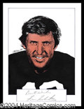 Autographs, Fran Tarkenton Signed Original Artwork