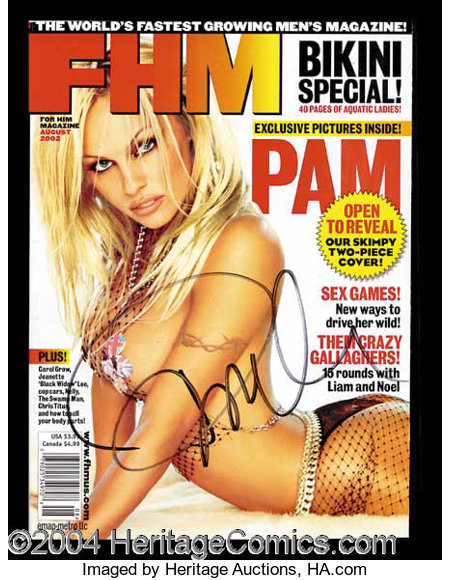 Pamela Anderson Sexy Signed Fhm Magazine Autographs Lot