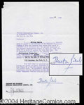 Autographs, Milton Berle Signed Contract Agreement