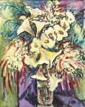 Paintings, JOSEPHINE MAHAFFEY (1903-1982). Untitled Floral. Oil on canvasboard. 30in. x 24in.. Signed lower right. A vibrant Josephin...