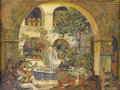 Paintings, RAYMOND EVERETT (1885-1948). A Musical Moment - Patio in Cuernavaca, Mex, 1927. Oil on canvasboard. 18in. x 24in.. Signe...
