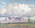 Texas:Early Texas Art - Regionalists, EUGENE THURSTON (1896-1993). Superstition Mts., 1977. Oil oncanvas. 24in. x 30in.. Signed lower right. Signed, dated, a...