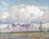 EUGENE THURSTON (1896-1993) Superstition Mts., 1977 Oil on canvas 24in. x 30in. Signed lower right Signed, dated, a