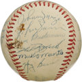 Autographs:Baseballs, 1953 New York Yankees Team Signed Baseball. The Bronx Bombers madeit an unprecedented five consecutive World Championships...