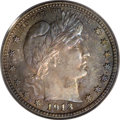 Proof Barber Quarters: , 1913 25C PR66 PCGS. This Gem proof displays a mix of cobalt-blue, purple, lavender, and orange toning on the obverse, and c...