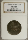 German New Guinea: , German New Guinea: German Colonial 10 Pfennig 1894A, KM3, MS64Brown NGC, full glossy surfaces....