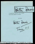 Autographs, Bette Davis Great Signed Typescript