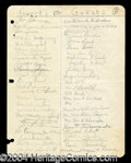 Autographs, James Dean Rare Signed High School Guest List