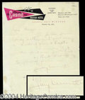 Autographs, Jimmy Durante Handwritten Letter Signed