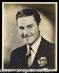 Autographs, Errol Flynn Beautiful Signed Sepia Portrait