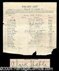 Autographs, Clark Gable Signed Salary List 1st Acting Job