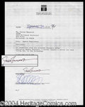 Autographs, Fred Gwynne Rare Signed Document
