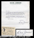 Autographs, Dave Janssen Typed Letter Signed