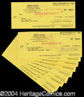 Autographs, Zeppo Marx Lot of 10 Signed Bank Checks