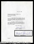 Autographs, David O' Selznick (GWTW) Rare Signed Document