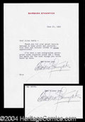 Autographs, Barbara Stanwyck Typed Letter Signed
