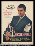 Autographs, Jimmy Stewart Vintage Signed Chesterfield Ad