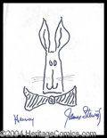 Autographs, Jimmy Stewart Signed Harvey Sketch