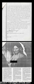Autographs, Barbara Streisand Rare Signed Document