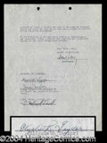 Autographs, Elizabeth Taylor Signed Contract Agreement